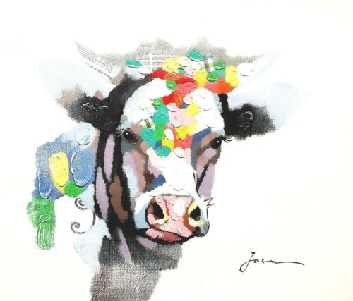 Cow- #2,, 20x24, Hand painted on Giclee Canvas,