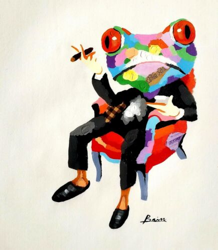 Frog with Cigar, 20x24, Hand painted on Giclee Canvas,