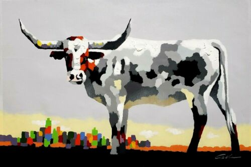 Long Horn Cow and City View,  24x36 Hand painted on Giclee Canvas