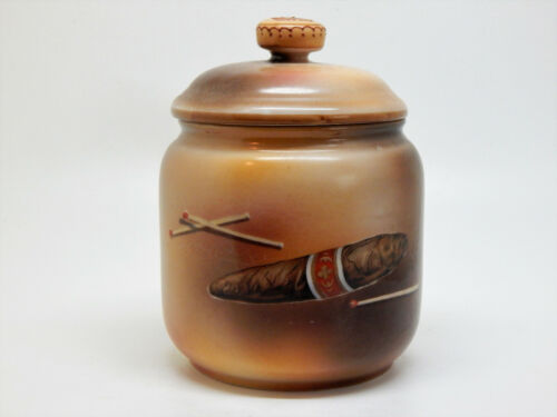 Noritake Morimura Humidor - Jar with Lid, Hand Painted Cigar & Matchbook,1921/24
