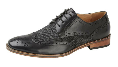 Mens Black Herringbone Textile Leather Lined Lace Up Smart Casual Shoes 6-12