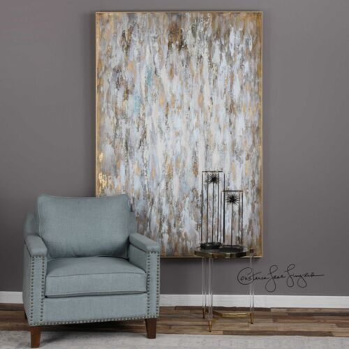 """FRAMED 73"""" HAND PAINTED CANVAS ABSTRACT BRIGHT MORNING PAINTING MODERN WALL ART"""