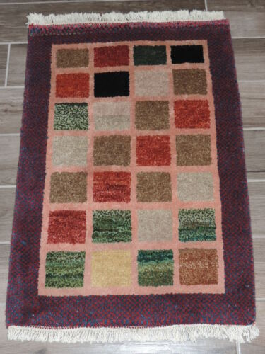 2x3ft. Handmade Thick Afghan Gabbeh Wool Rug