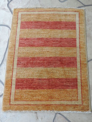 3x4ft. Striped Handmade Gabbeh Wool Rug