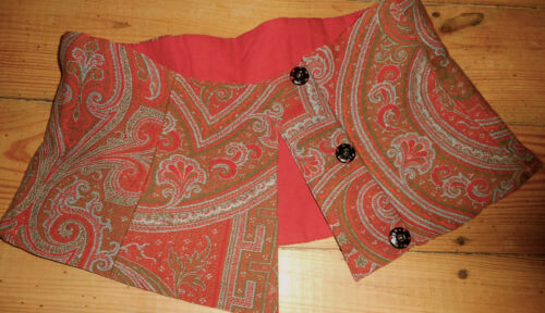 Antique French Kashmiri Paisley Wool Fabric Waist Pc Bodice Bustier ~Red Green