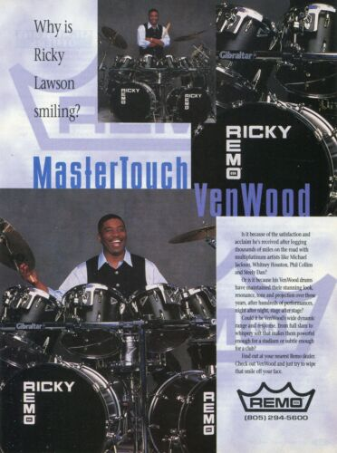1997 Print Ad of Remo MasterTouch VenWood Drum Kit w Ricky Lawson