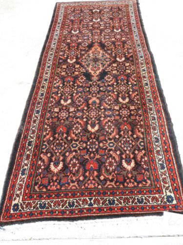 3x10ft. Vintage Herati Malayer Hamedan Wool Runner