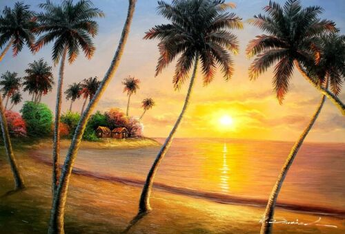 Pacific Island Sunset -#11, ,24x36,100% Hand Painted Oil Painting on Canvas