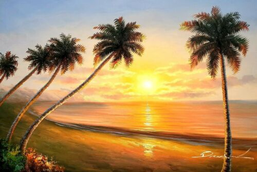 Pacific Island Sunset -#13, ,24x36,100% Hand Painted Oil Painting on Canvas