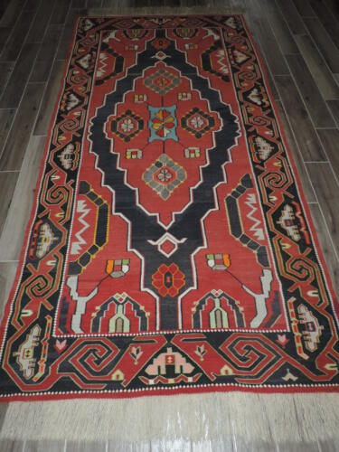 5x11ft. Antique Caucasian Kilim Russian Shirvan Wool Room Size Runner