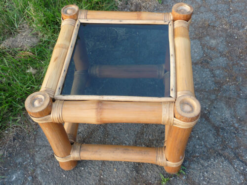 Bamboo Vintage MCM Small Square Table with glass top Unique Funky Cool