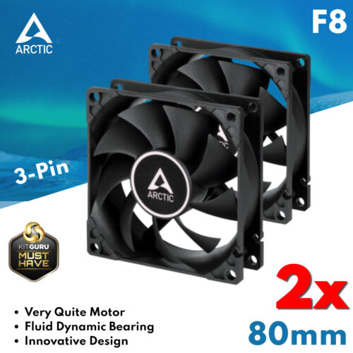 2x 80 mm Fan Arctic Cooling F8 Low Noise Quiet Cooler Fluid Bearing Black and Wh