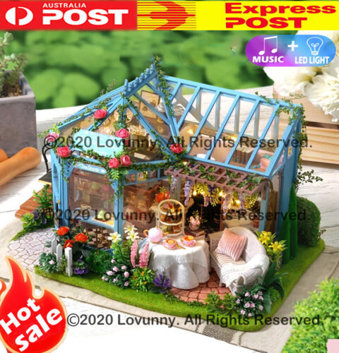 AU DIY LED Music Rose Garden Dollhouse Miniature Wooden Furniture Kit Doll House <br/> ⭐⭐⭐⭐⭐ 🔥Sydney Stock🔥Next Business Day🔥Music+LED🔥