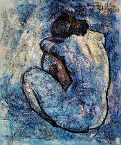 """Blue Nude - 20x24""""Hand Painted Pablo Picasso Oil Painting On Canvas Wall Art"""