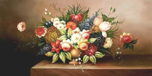 Classic Floral - #1,  24x48  100% Hand Painted Oil Painting on Canvas
