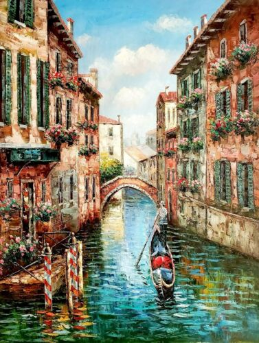 Venice Cafe -#7,  36x48 100% Hand painted Oil Painting on Canvas