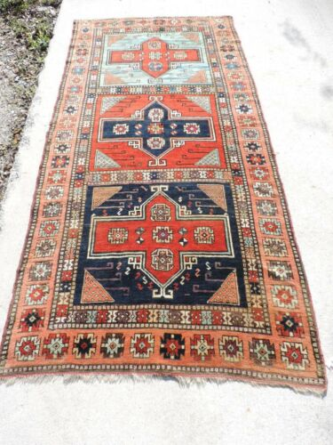 4x9ft. Antique Turkish Village Tribal Wool Rug