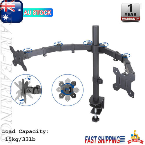"TV Bracket 10""-27"" Dual LED Monitor C Clamp Stand Desk Mount 2 Arm Holder PEAR"