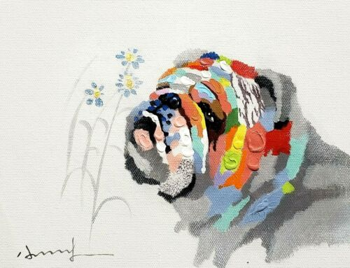Bulldog and Flower, 8x10 Hand painted on Giclee Canvas, Canvas-only