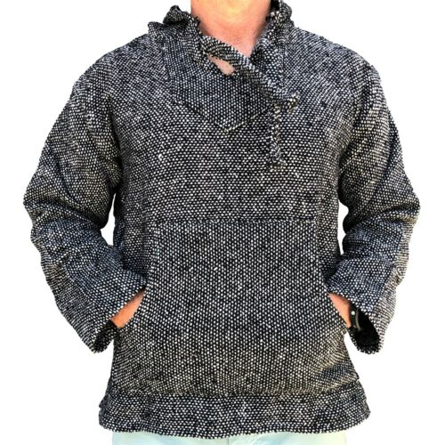 New Mexican Poncho Baja Hoodie Surfer Pullover Made in Mex Unisex Charcoal Grey