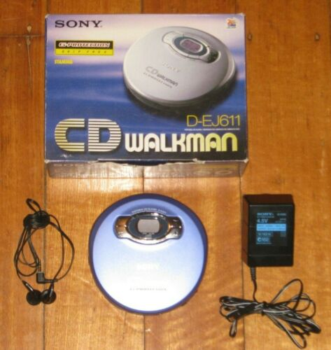 SONY D-EJ611 CD Walkman - Complete In Box - Discman - CD Player - Blue - VGC