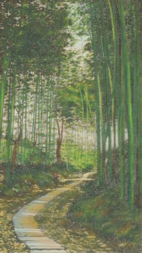 """LANDSCAPE CHINESE HANGING SCROLL 40.2"""" Embroidery ART Bamboo Antique China c057"""