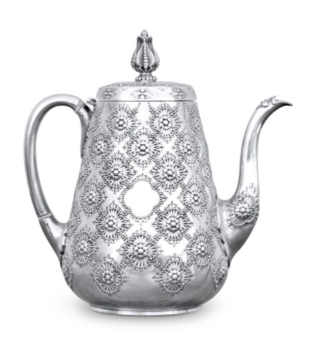 Sterling Silver English Tea Pot by Robert Hennell 1872 Persian Pattern, Rare
