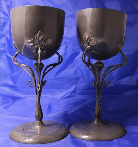 Antique Art Nouveau/Jugendstil Pair of Pewter Pokal Vases Germany c.1900s