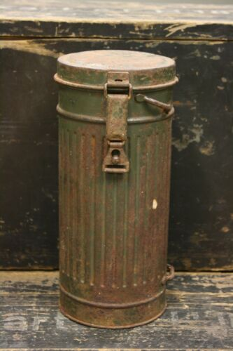 WW2 German Original Wehrmacht Gas Mask Cannister Container Dated 1940 OstfrontPersonal, Field Gear - 36049