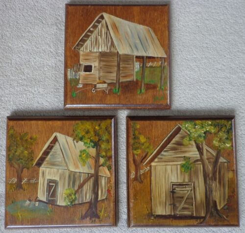 Lot Folk Art Wood Barn Paintings Signed A. Britt ~ FREE SHIPPING