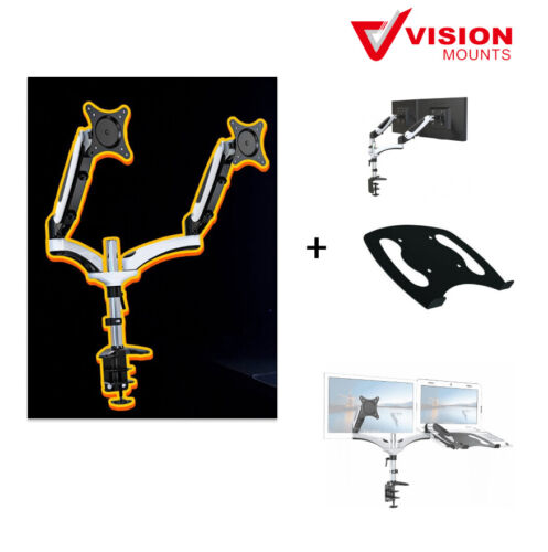 Dual Monitor Stand Mount + Notebook Holder 2-in-1 Vision Mounts VM-GM124D+VM-D15