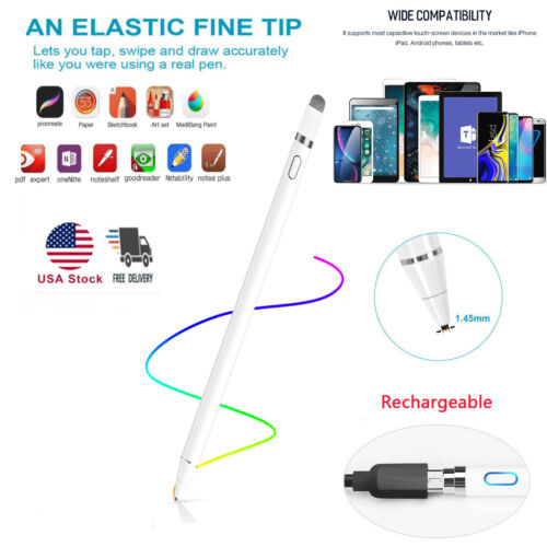 For iPhone iPad iPod Samsung PC Rechargeable Capacitive Stylus Touch Screen Pen