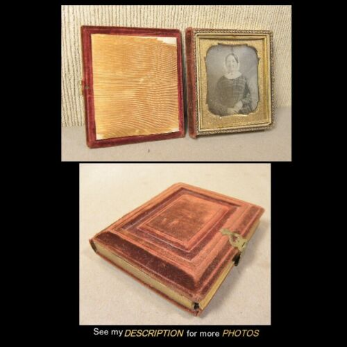 Antique 1/6th Plate Daguerreotype Woman in Plaid Dress Red Velvet Book Case