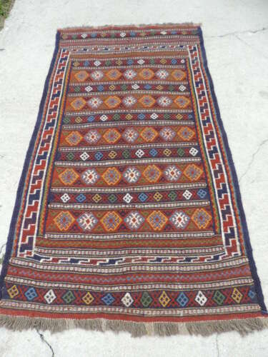 4x8ft. Vintage Sumak Flatweave Tribal Wool Rug