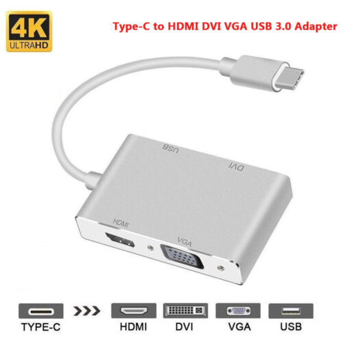 4 In 1 Type-C USB-C to HDMI DVI VGA USB 3.0 Cable Adapter For Laptop Notebook