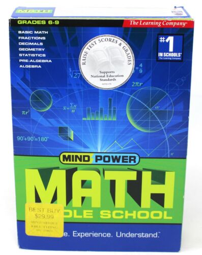 The Learning Company Mind Power Math Middle School 4 CD Roms Grades 6-9