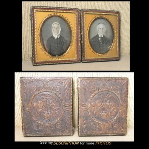 Antique 1/6th Plate Double Daguerreotype Distingished Gent & Wife Fancy Mats