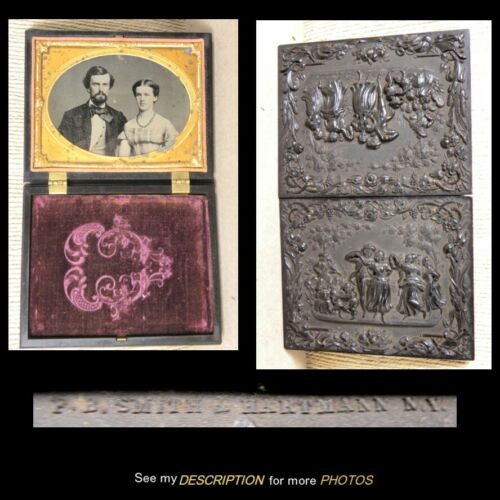 1860s 1/4 Plate Thermoplastic Case 1-39 Signed Ambrotype & Case Gutta Percha