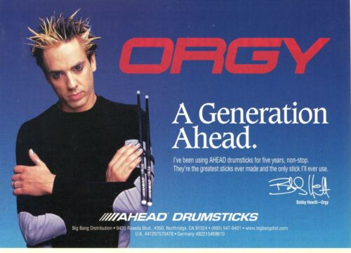 2000 small Print Ad of Ahead Drumsticks w Bobby Hewitt of Orgy