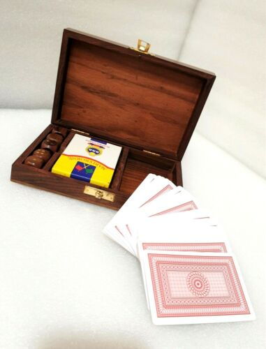 Playing Cards and Dice Set with Wooden Box