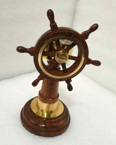 Compass- Brass and Wood Ship Wheel