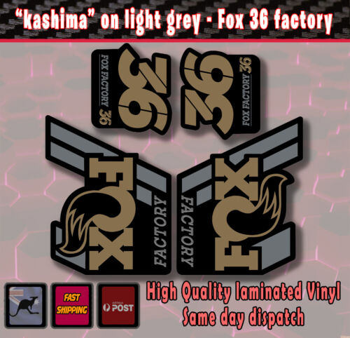 "FOX Factory 36 style Fork Decals Stickers ""kashima gold ""/grey/black  Laminated"