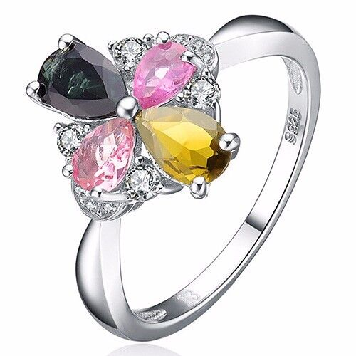 MULTI COLOR TOURMALINE & FLAWLESS CREATED DIAMOND 925 STERLING SILVER RING