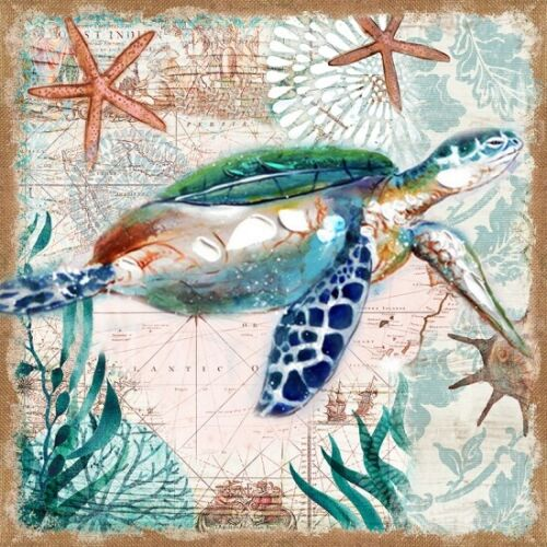Sea Turtle Hessian Canvas Picture Canvas Print Painting Wall Decor 70x70cm