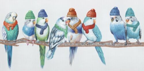 Cute Bird w Hat 8 Birds Canvas Print Art Painting Home Wall Decor 50x100cm