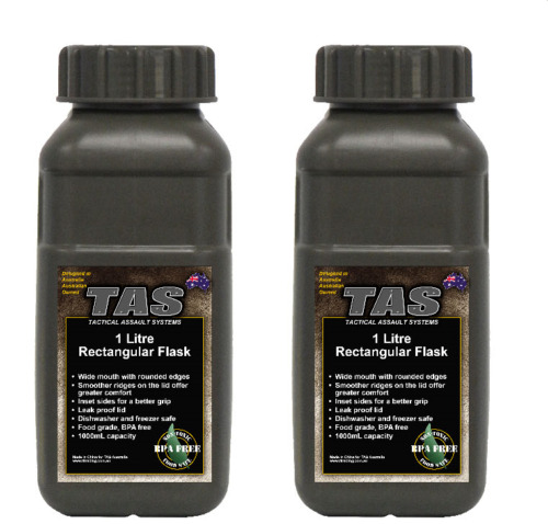 TAS 1L Olive Army Water Bottle Rectangular Military Flask BPA FREE  - 2 Pack Other Eras, Wars - 135