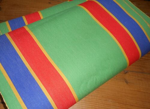 Vintage French German Awning Stripe Cotton Canvas Fabric ~Green Blue Red Yellow