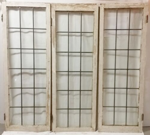 Antique Leaded  GLASS Windows  56.5 inches tall, SET OF 3 WINDOWS