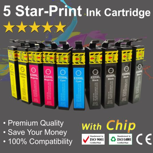 10 Ink Cartridges for Epson 220XL XP-324 XP-320 XP-420 WF-2630 WF-2650 with chip