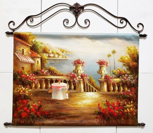 Mediterranean - #9, 36x48  Wrought Iron Hanger Painting- Ready to Hang